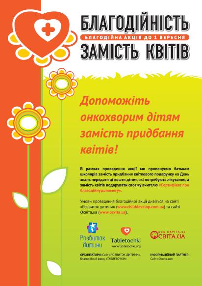 Плакат «Благодійність замість квітів»