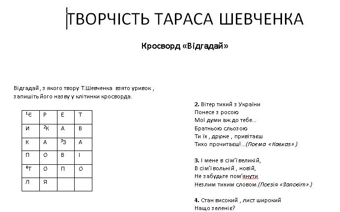 Кросворд та вікторина за творчістю Тараса Шевченка