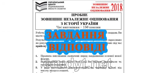 Пробне ЗНО 2018 історія України, завдання та відповіді