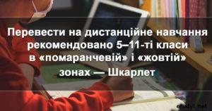 """У """"жовтних"""" та """"помаранчевих"""" зонах МОН рекомендує дистанційне навчання"""