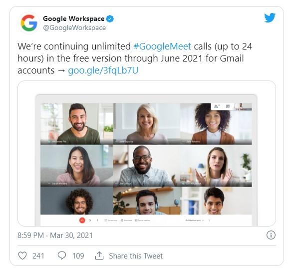 Скріншот сторінки Google Workspace у twitter