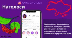 Наголоси для ЗНО з української мови і літератури